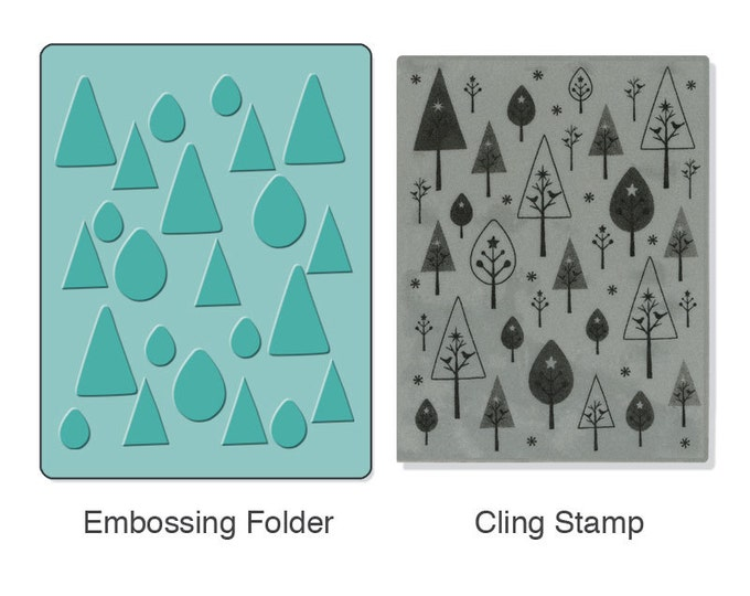 Sizzix Textured Impressions Embossing Folder w/ Hero Arts Stamp - Birds 'n' Trees Set (657765)