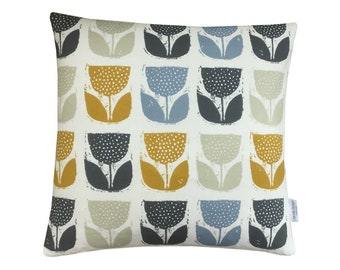 Scandinavian collection Poppypod Geometric  cushion cover/ pillow case ivory Ochre Mustard Blue and Grey