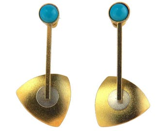 Modernist Kinetic Gilt Sterling Earrings  Gold over Sterling Silver Turquoise