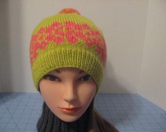 Handmade Fair Isle Ski Hat, Wool Ski Hat, Womens Winter Hat, Warm Winter Hat, Pom Pom. Lemongrass Hat with Coral Flower Fair Isle Pattern,