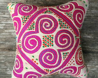 Pin cushion made from a vintage hmong textile (H222)