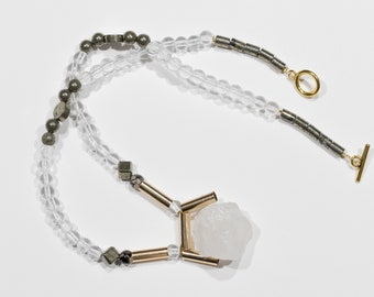 Rock crystal and Pyrite necklace