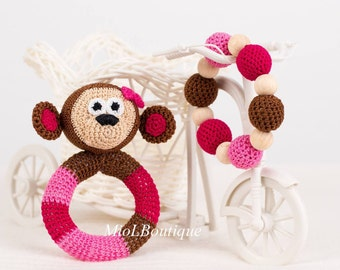 Monkey Baby Rattle Crochet Marmoset SET of 2 Baby toy Teething baby toy Grasping Teething Toys Stuffed toys gift for baby