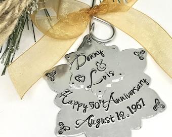 50th Wedding Anniversary Ornament - 25th Anniversary gift idea - Anniversary Ornaments - Personalized -  - Wedding GIfts