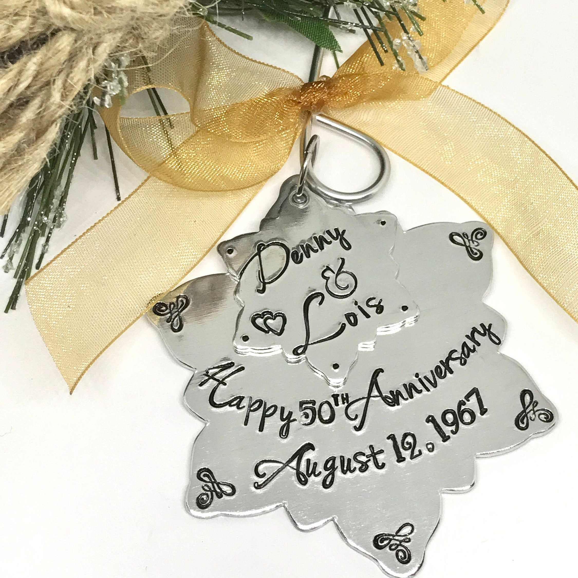 50th Wedding Anniversary Ornament 25th Anniversary gift idea