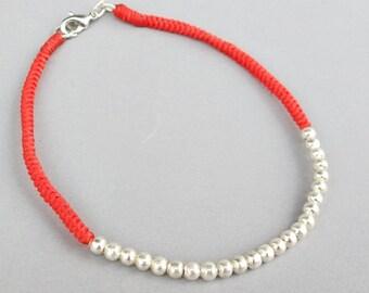 Grenadine  Macrame Ankle Bracelet with Bead