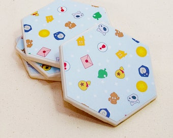 Animal Crossing Hexagon Coaster | Single Coaster | Video Game Ceramic Tile Coaster | Geeky Housewarming Gift | Kawaii Game Drink Coaster