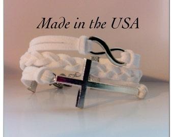 Sideways Cross and Infinity Bracelet, White braided Suede Leather Sideways Cross and Infinity Bracelet, Christian Bracelet, Faith Bracelet