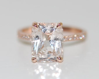 Engagement ring Blake Lively ring White Sapphire Engagement Ring emerald cut 18k rose gold diamond ring 4ct sapphire engagement ring
