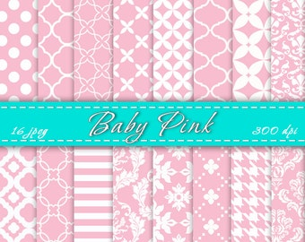 INSTANT DOWNLOAD - Baby Pink Digital Paper, Digital Backgrounds, Scrapbooking Papers, For Personal Or Commercial Use