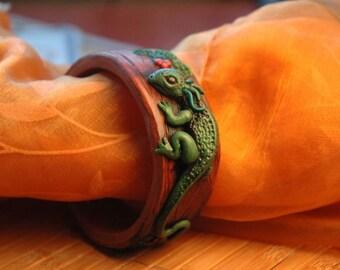 Green Lizard, Dragon, Bracelet, Fantasy, Collector
