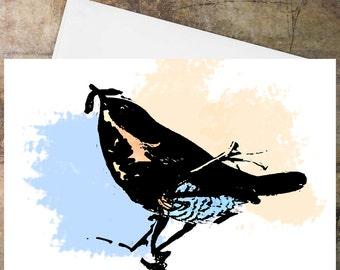 Handmade Greeting card, birthday greetings, birthday card, Handmade blank card, anniversary card, artist card, Bird Art card, 'little wren'
