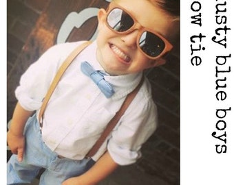 Boys Bow Tie And Suspenders, Dusty Blue Bow Tie Tan Leather Suspenders, Wedding Bow Tie, Ring Bearer Outfit, Baby Bow Tie, 1st Birthday Boy