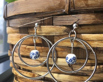 Silver Double Hoop Ball Post Earrings with Dangling Blue Flower Glass Bead