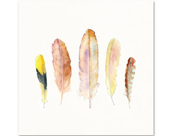 Pastel Colored Feather Art Print. Watercolor Feather Painting. Zen Wall Art. Soft Colored Nature Wall Art. Yellow and Pink Feather Print.
