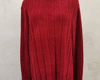 Vintage Berry Red Chenille Sweater
