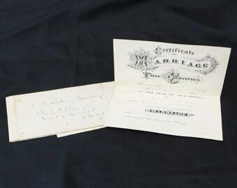 Antique 1870 Marriage Certificate Pennsylvania - Charles Murphy & Sarah Robinson