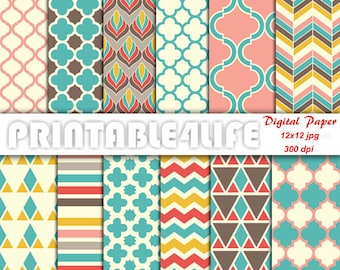 Colorful digital paper pack, Vintage background patterns, Chevron, Quatrefoil, Printable Scrapbook paper, Personal / Commercial Use (v02)