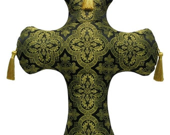 Brocade Cross Shaped Decorative Pillow 21 x 18 inches