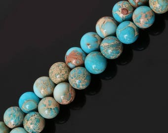 Beads semi precious stone 8 mm Jasper Imperial turquoise, set of 10