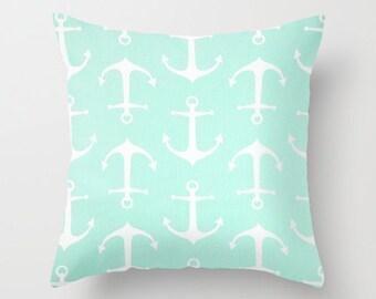 Anchor Pillow Cover Mint Green Pillow Nautical Pillow Throw Pillow Accent Pillow Size Choice