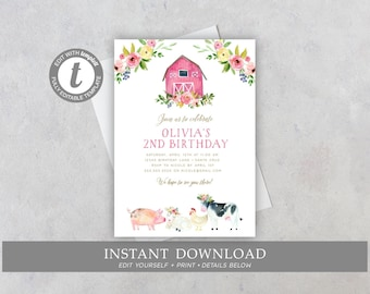Farm Birthday Invitation, Girl, Editable, Digital, Barnyard Party, Farm Animals, Pig, Cow, Floral, INSTANT DOWNLOAD