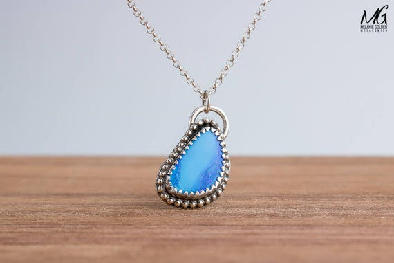 Blue Boulder Opal Gemstone Necklace in Sterling Silver with Beaded Border