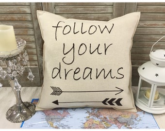 """Decorative Pillow with """"follow your dreams"""" and arrows on the front COMPLETE pillow. Aztec arrow pillow,  arrow pillow, dreams, home decor"""