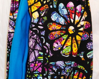 Floral Stained Glass with Blue Infinity Scarf Double Loop Scarf