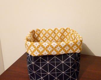 basket, basket graphic mustard yellow and Navy