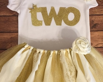 Ivory and Gold Birthday Tutu Outfit