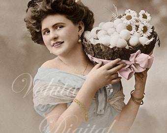 Woman with basket full of eggs. Digital download  -  Edwardian Vintage Postcard.