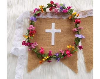 Personalised Burlap Hessian Bunting Banner Flags with cross for Christening Baptism