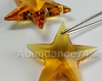 2pcs Swarovski Elements - Swarovski Crystal Pendant 6714 20mm Star Pendant - Topaz