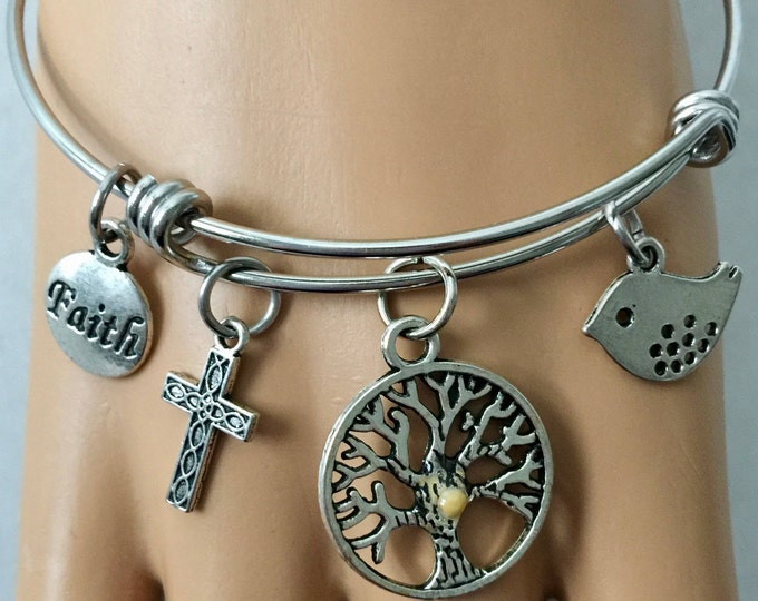 Christian bangle bracelet on stainless steel bracelet with silver charms, cross, faith tag, bird, tree with real mustard seed