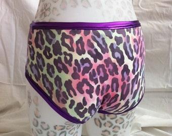 Rainbow Leopard print Roller Derby Pole Dance Rave wear Hot pants