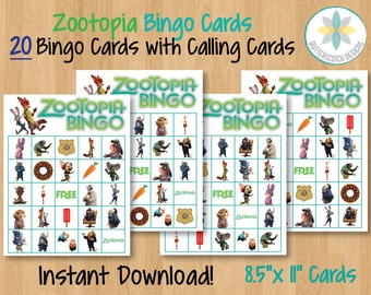 Zootopia Printable Bingo Cards (20 Different Cards) - Instant Download