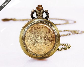 Mothers day etsy pocket watch vintage map pocket watch world map pocket watches silver watch gumiabroncs Image collections