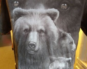 Cute soft grey brown Grizzly Bear T shirt sz L Wildlife Nature Hunter