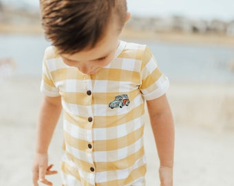 SALE // Last One 9-12mo Mustard Gingham + Woody Button Down Romper NB - 5T