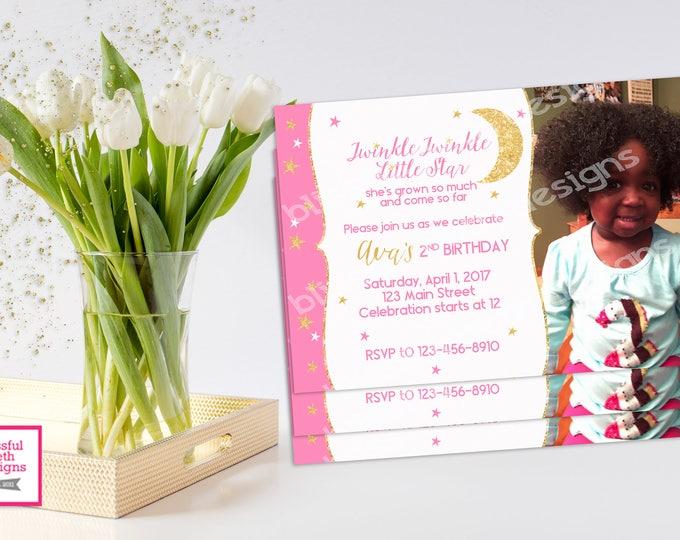 TWINKLE TWINKLE BIRTHDAY, Twinkle Twinkle Little Star Birthday Invitation, Printable Birthday Invitation, Twinkle Star, Pink/Gold Sparkle