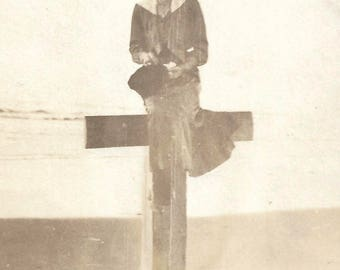 """Vintage Photo """"By The Sea"""" Smiling Woman Perched On Wooden Post Victorian-Era Found Vernacular Photo"""