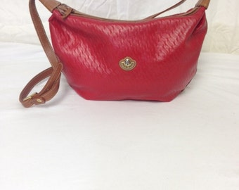 Saddle river,Red, faux leather purse,red purse,tan, red, shoulder bag