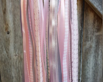 Nursery Mobile - Pink and Gray Ribbon