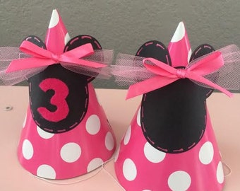 Set of (8) MINNIE MOUSE Party Hats Decorated in a Pink and White Polka DOT