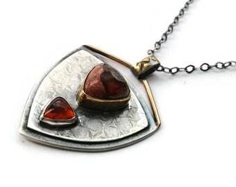 Sterling silver and gold pendant, oxidized, rustic, opal, orange spessartite garnet, geometric, triangle, modern, contemporary, unique, OOAK