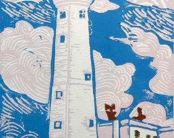 Flamborough Head Lighthouse Original Linocut Print