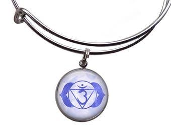 Third Eye Chakra Charm Bangle   Chakra Jewelry Chakra Bracelet Boho Bangle Yoga Bracelet Meditation Bracelet Ajna Chakra Indigo Blue Chakra