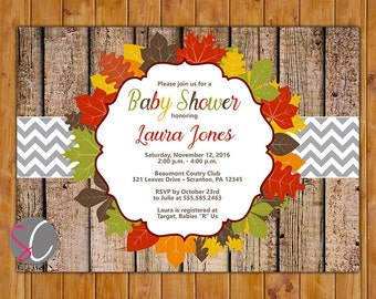 Fall Baby Shower Invite Rustic Wood Leaves Autumn Fall Birthday Invitation Printable 5x7 Digital JPG File (77)