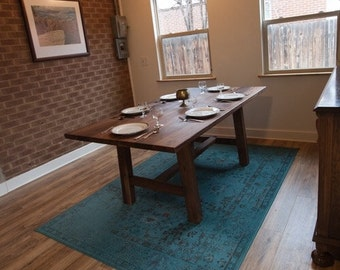 Rustic Walnut Farmhouse Table